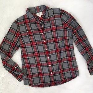 J. Crew Red Grey Button Up Flannel Boy Shirt